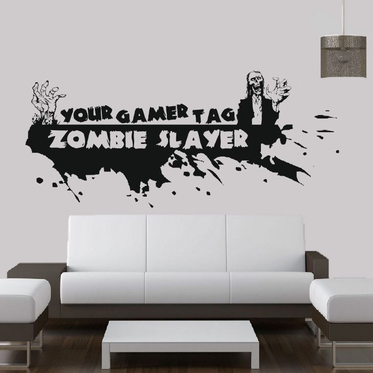 Call of duty style zombie gamer tag ps3 xbox wall art for Zombie room decor
