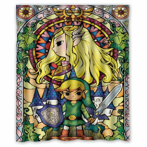 The legend of zelda stained glass custom shower curtain 66x72 60x72