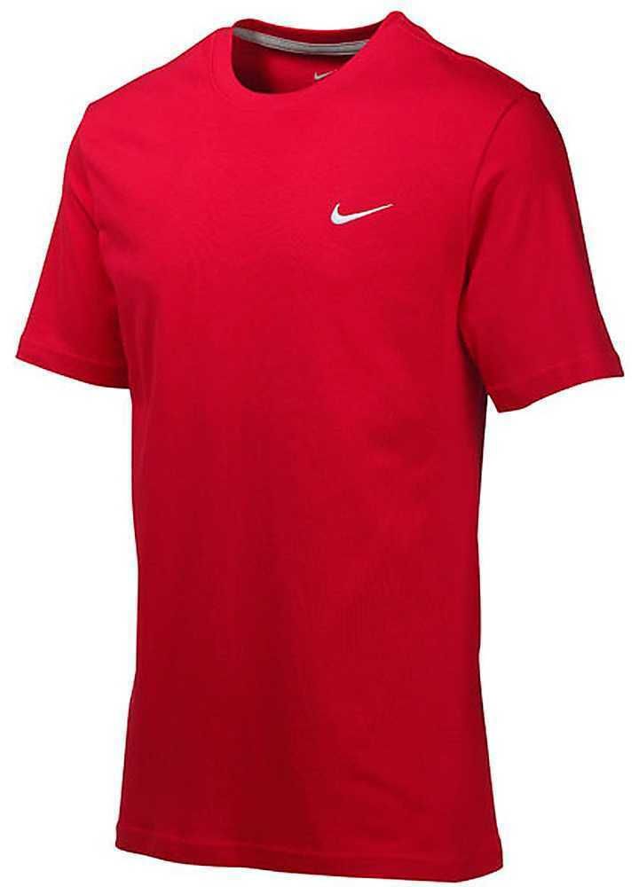 Nike swoosh men 39 s tee shirt embroidered logo red 416152 for Nike swoosh logo t shirt