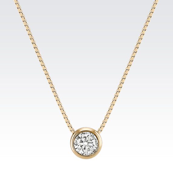 1 Ct Real 14k Solid Yellow Gold Round Bezel Set Solitaire