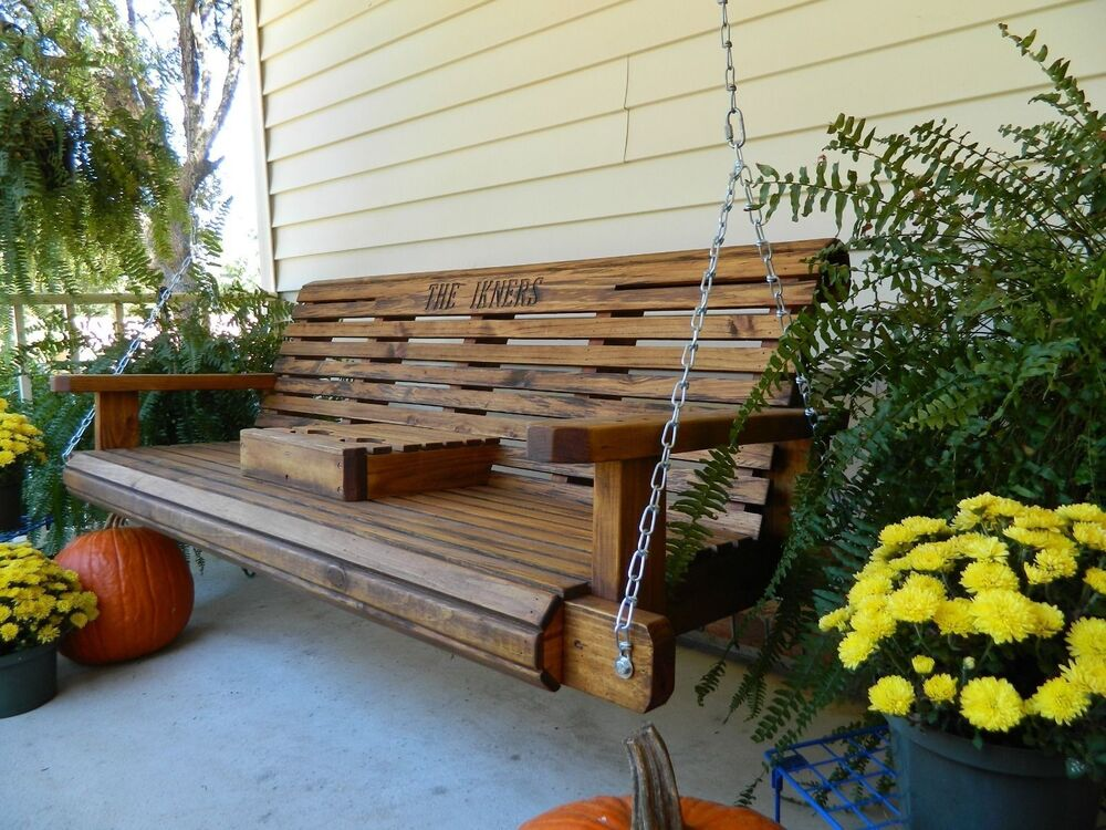 5ft Handmade Southern Style Round Faced Wood Porch Swing ...