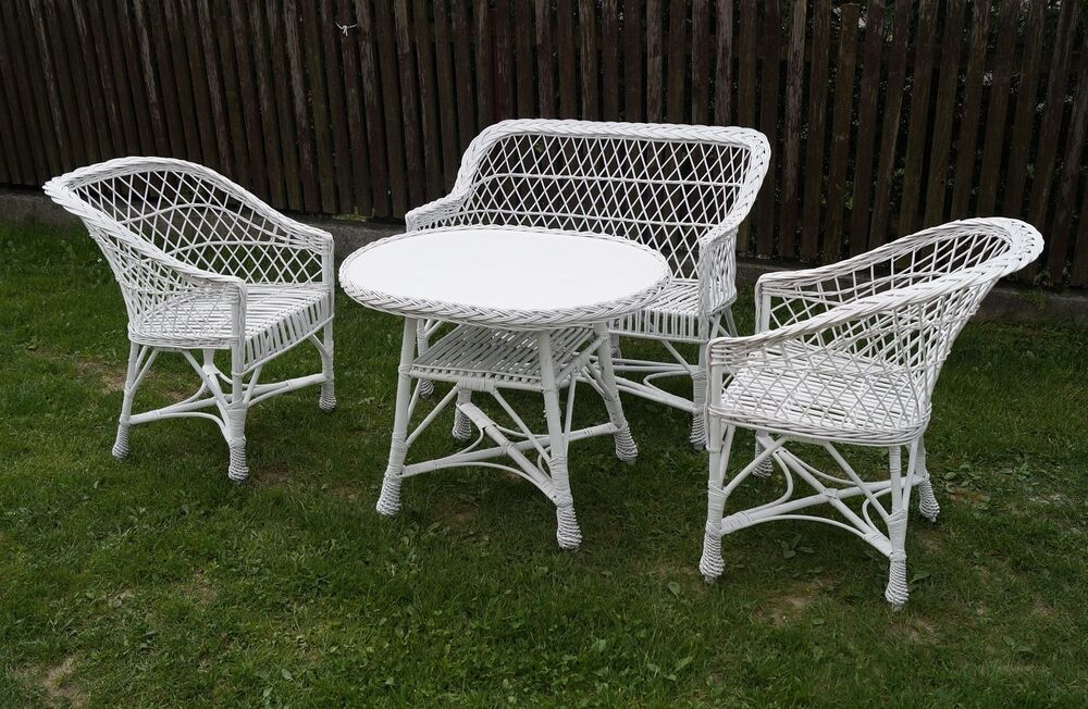 GARDEN FURNITURE SET CHAIRS SOFA TABLE OUTDOOR PATIO CONSERVATORY WICKER WHIT