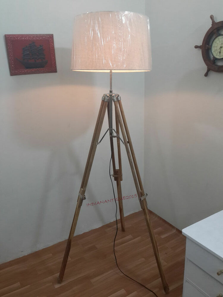 Vintage teak wood tripod floor lamp transit shade light for Tripod spotlight floor lamp in teak wood