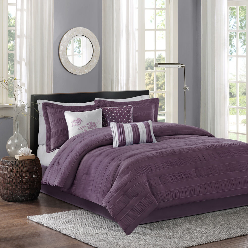 Beautiful modern chic grey purple plum silver pinch pleat for Bedroom bedding sets