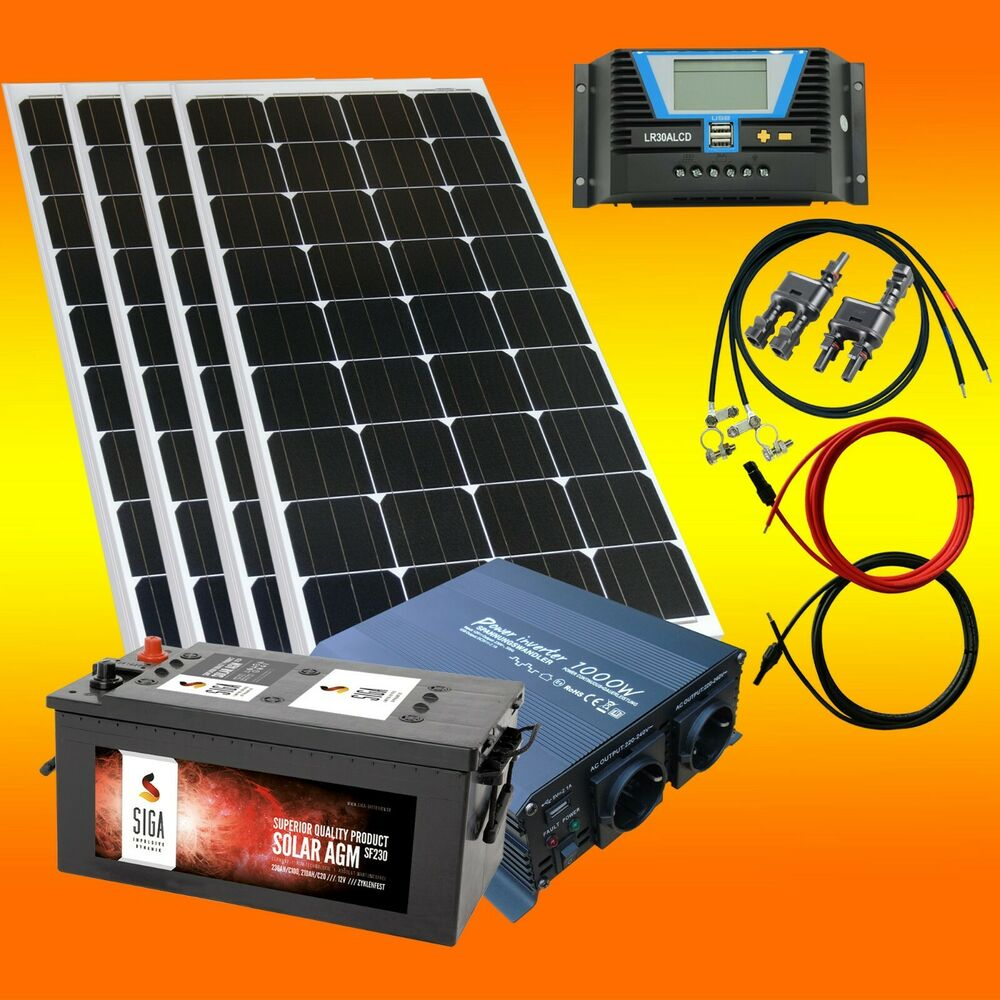 400 watt inselanlage solaranlage 12volt set w hlbar spannungswandler batterie ebay. Black Bedroom Furniture Sets. Home Design Ideas