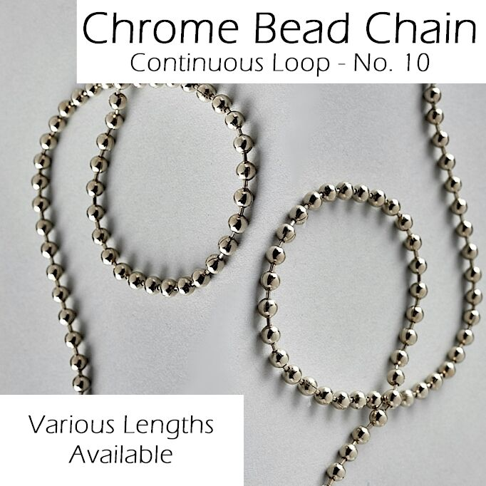 Roman Roller Vertical Blind Metal Silver Chrome Bead Chain