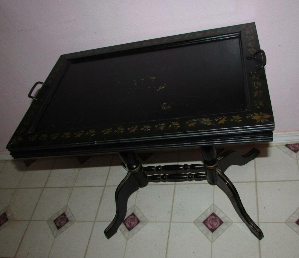 Coffee Table Tray Ebay: ANTIQUE 1800'S RARE HITCHCOCK TOLEWARE TEA TABLE REMOVABLE