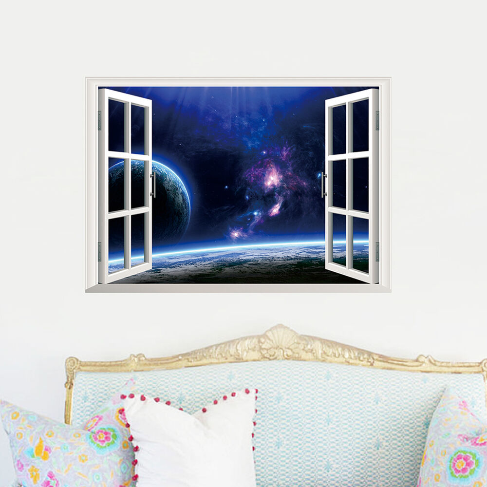 galaxy planet space window view removable wall art home. Black Bedroom Furniture Sets. Home Design Ideas