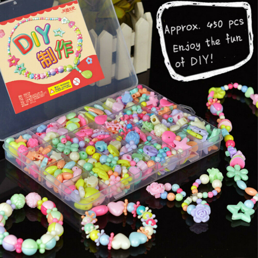 Kid Craft Beads: 450pcs Mixed Color Jewelry Bead Set & DIY Hairband For