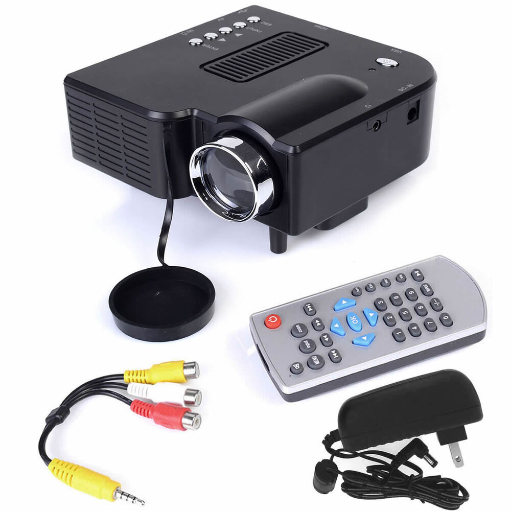best hd mini portable led projector home cinema theater pc laptop vga usb hdmi ebay. Black Bedroom Furniture Sets. Home Design Ideas