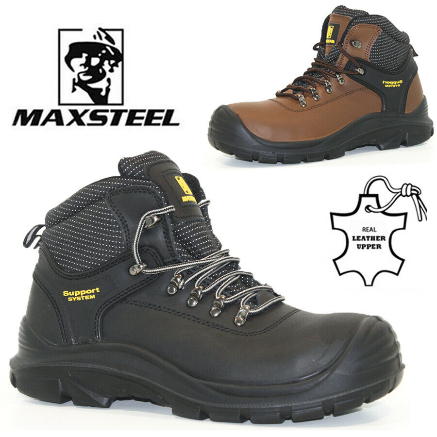 New Mens Leather Safety Work Boots Steel Toe Cap Ankle