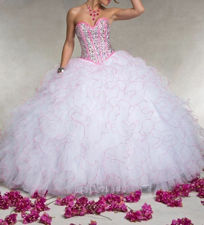 Red And White Ball Gown Wedding Dress: White+Pink Beaded Ball Gown Quinceanera Prom Pageant Party
