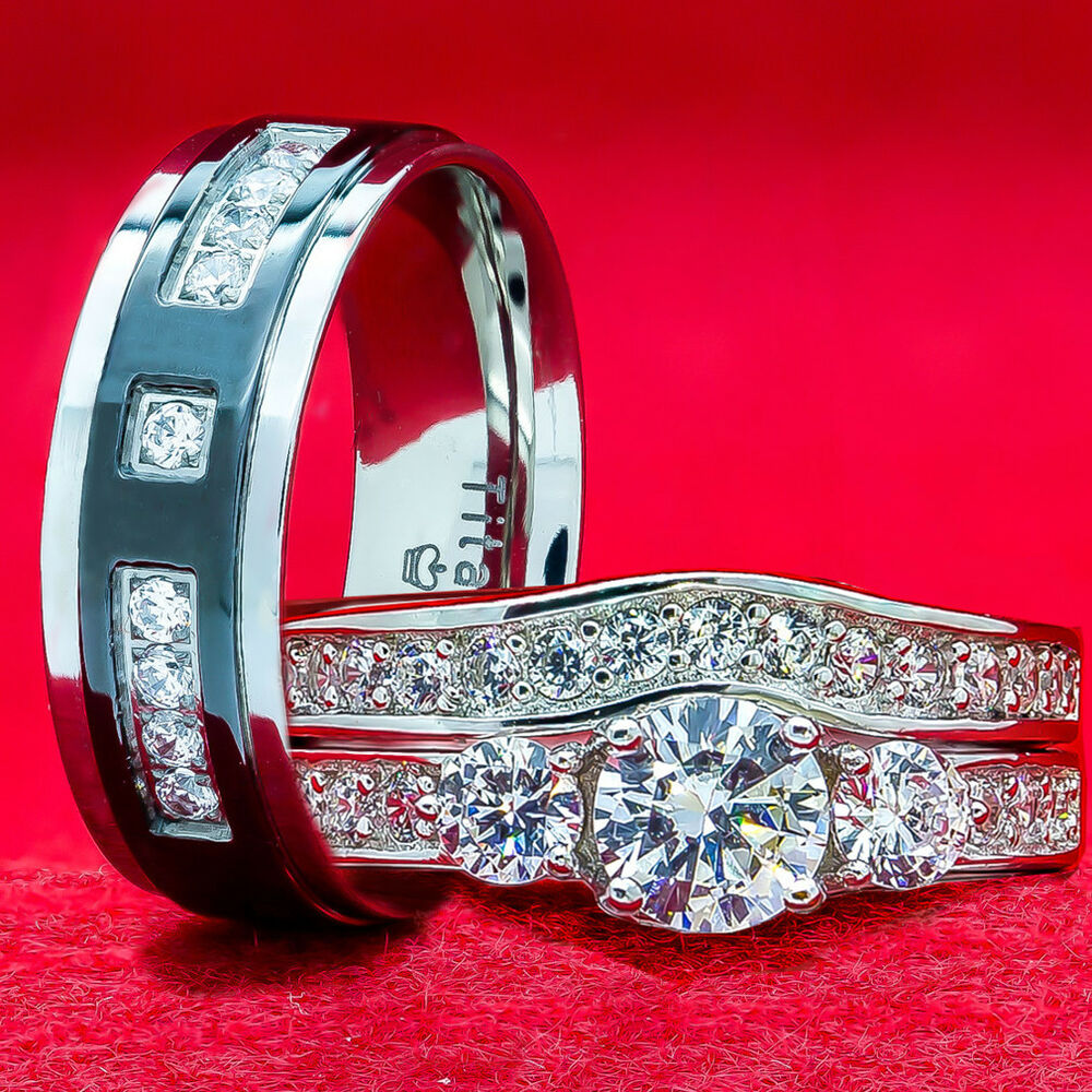 Wedding Ring Sets Sterling Silver: His And Hers Wedding Rings 3 Piece 925 Sterling Silver
