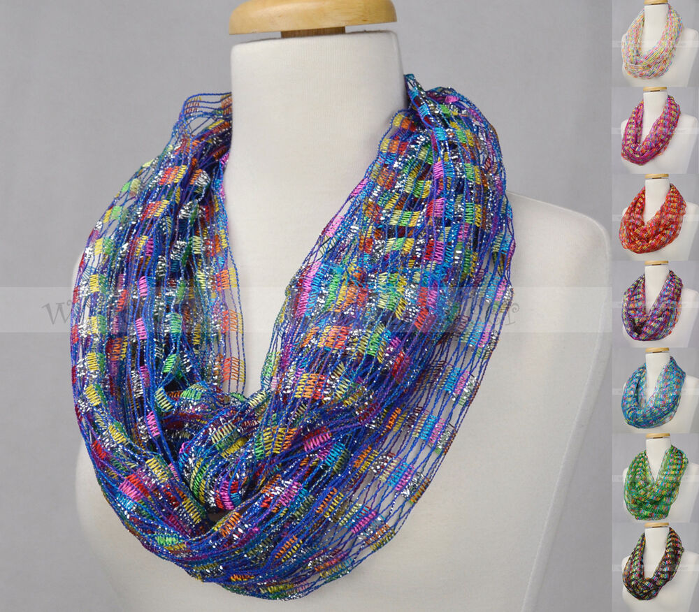 Crochet Spring Summer Infinity Scarf Loop Multi Color Silver Thread Knit Fishnet Ebay