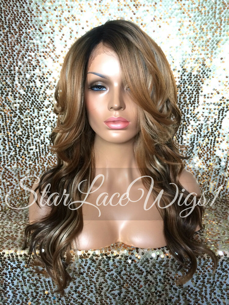 Wavy Lace Front Wig Brown Auburn Blonde Ombre Mixed Highlights Layers ...