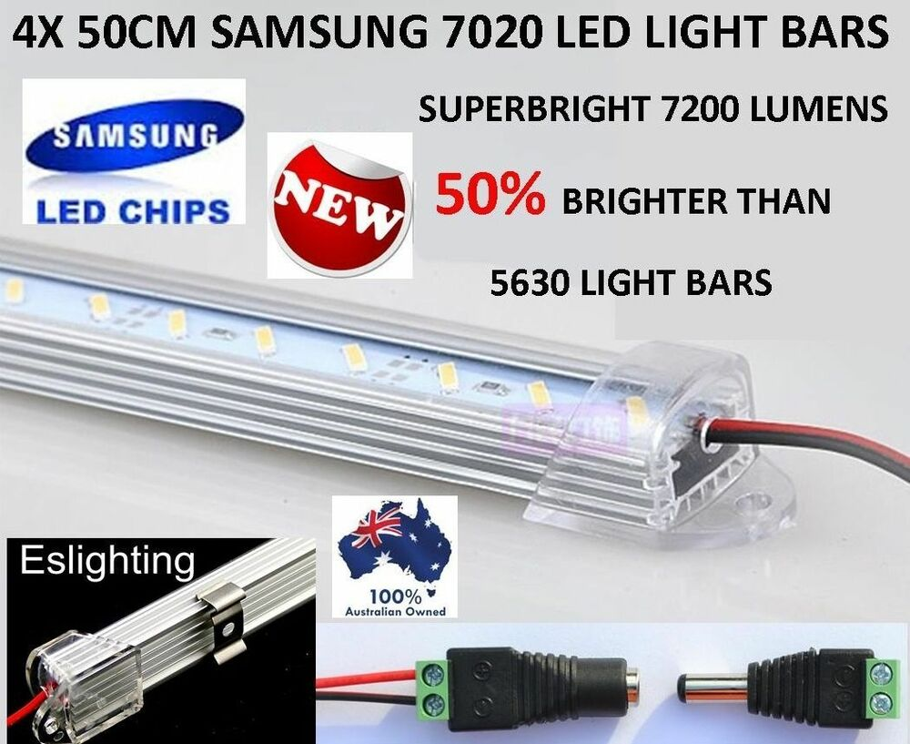 4x 50cm 7020 led strip light bar 12v awning camping car. Black Bedroom Furniture Sets. Home Design Ideas
