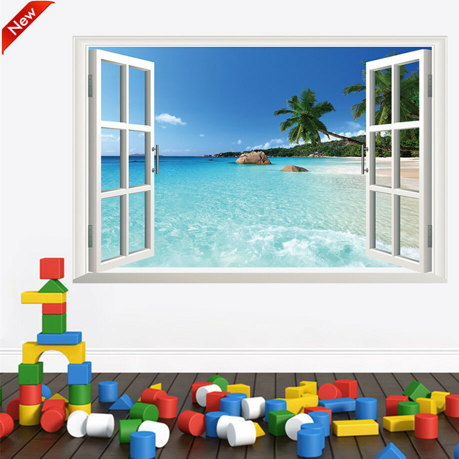 Large 3d window beach sea view wall stickers removable art for Beach view wall mural