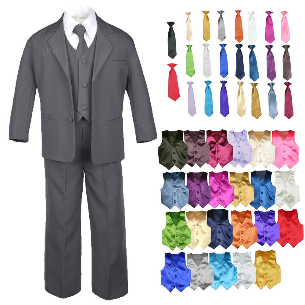 Product Features Set includes vest, shirt, pants, neck tie and bow tie.