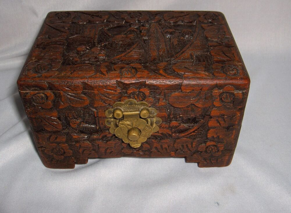 Vintage Asian Hand Carved Wood Hinged Trinket Jewelry Box