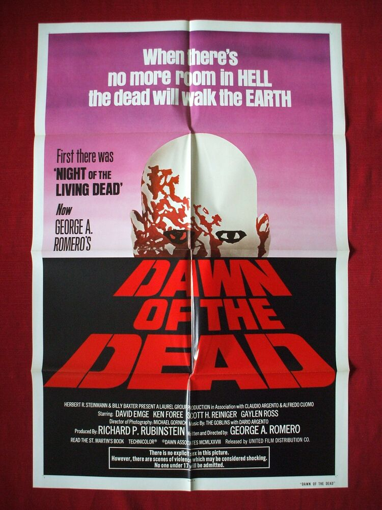 DAWN OF THE DEAD *1978 ORIGINAL MOVIE POSTER GEORGE ROMERO ...