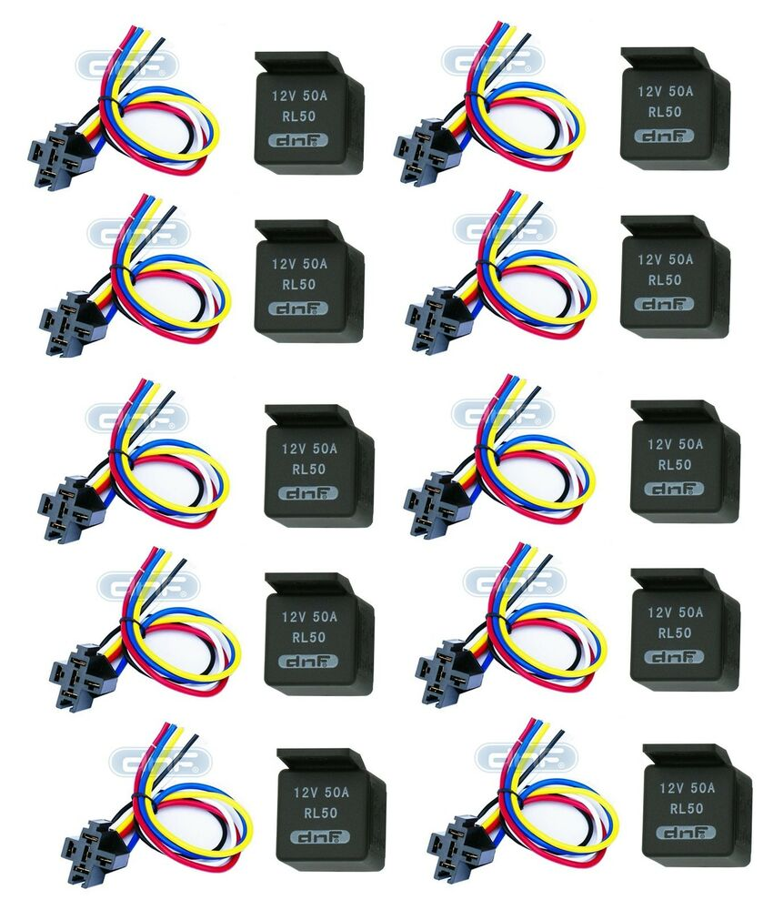 details about 10 pair 50 amp 12v bosch style relay & harness socket spdt +  100% copper wires