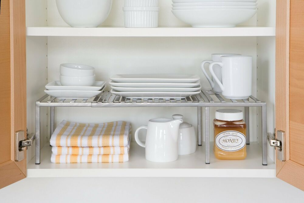 Kitchen cabinet expandable shelf organizer dish cup can for Kitchen cabinet organizers