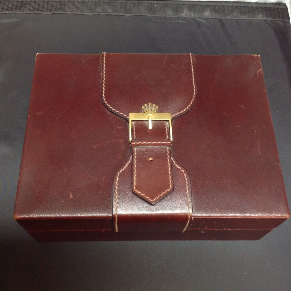 Vintage Rolex Box Only Red Leather And Wood For