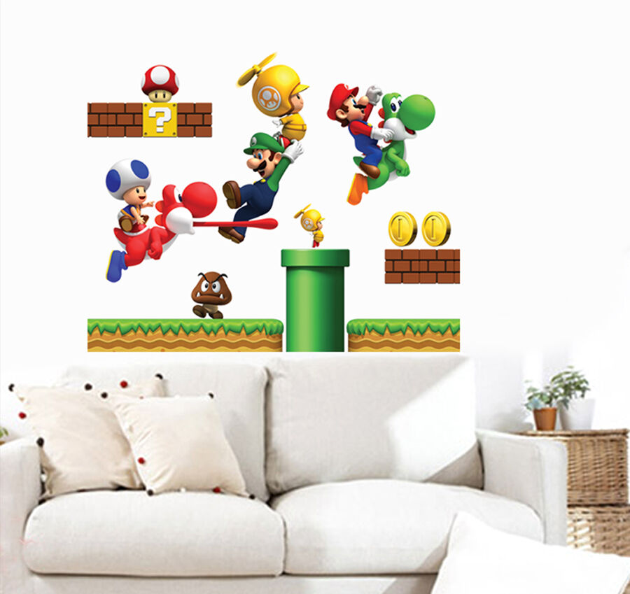 Super mario bros kids removable mural wall decals sticker for Childrens wall mural stickers