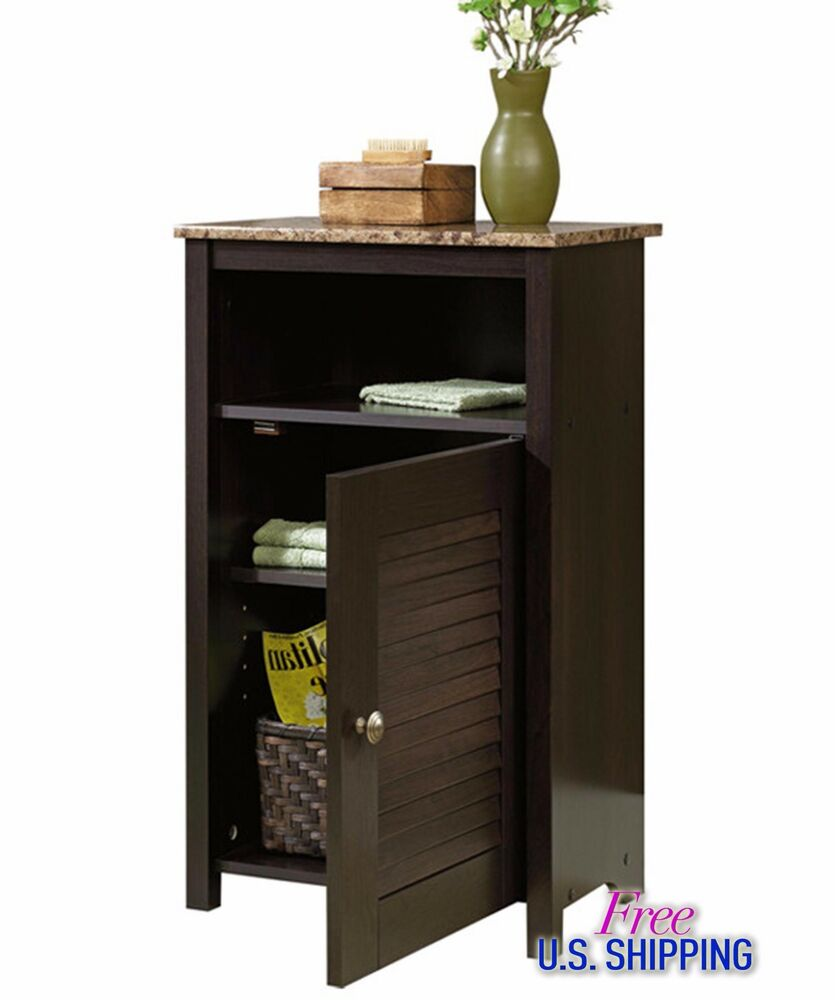 Bathroom Wooden Cabinet Free Standing Cherry Shelves Bath Storage Wood Organizer Ebay