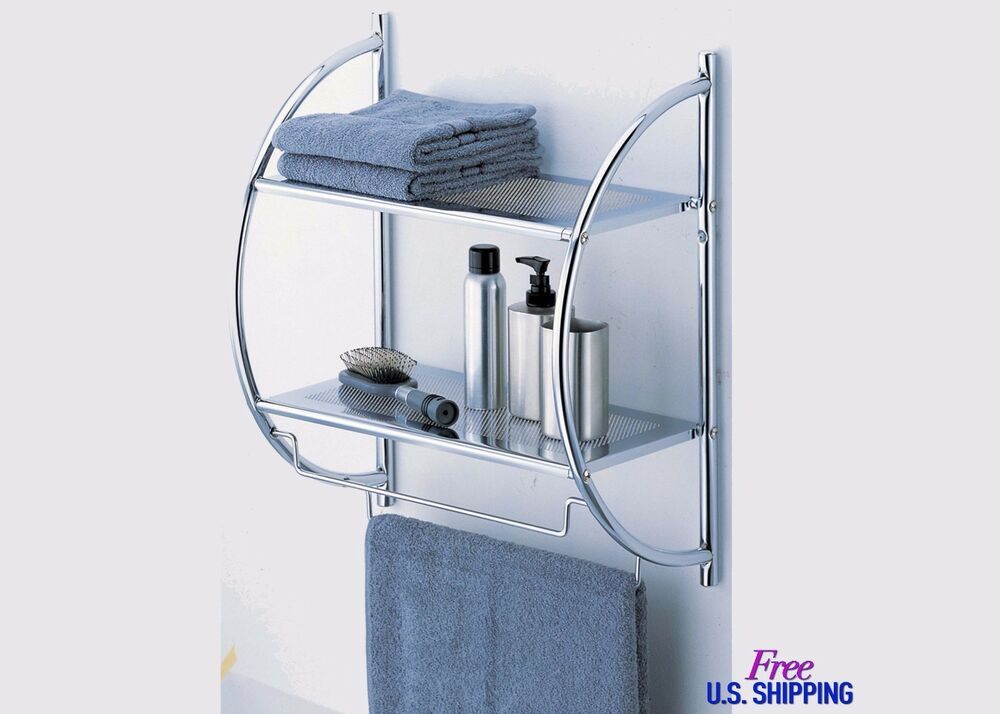 Metal Bathroom Shelf Wall Storage Rack Mounted Caddy Shelves Organizer Towel Bar Ebay