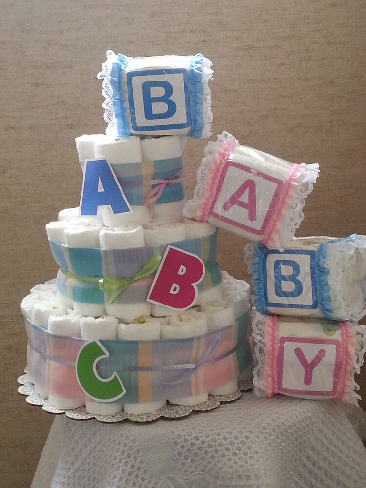 3 tier diaper cake abc alphabet baby shower gift for Alphabet blocks cake decoration