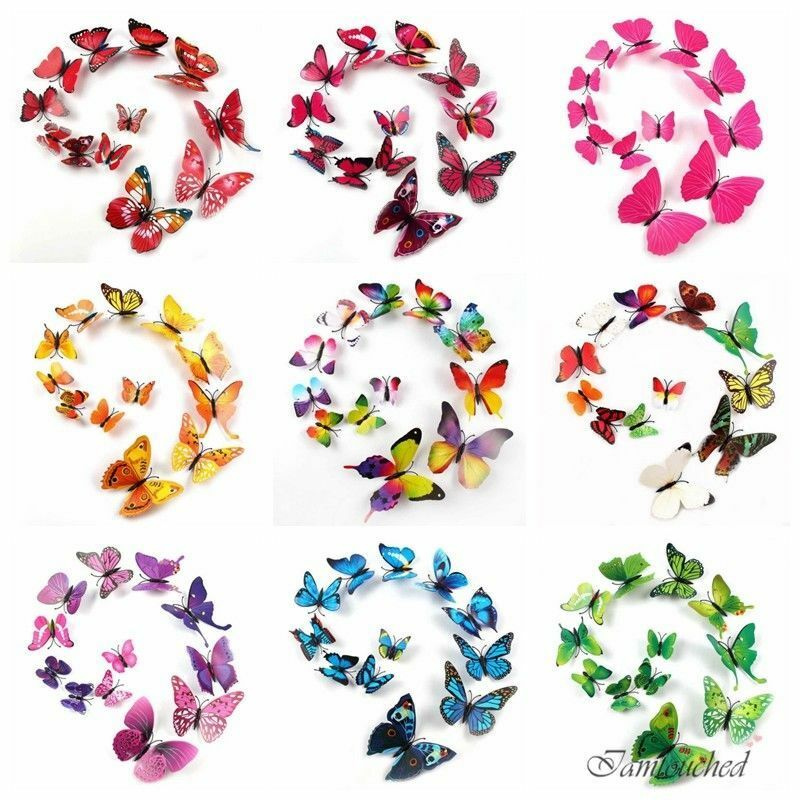 New 12pc 9color diy 3d butterfly wall sticker home decor for Diy 3d art