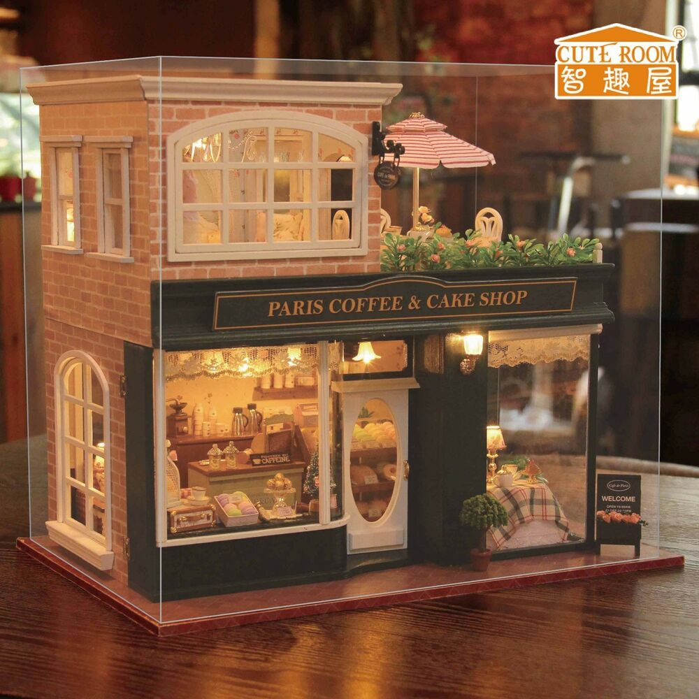 New kits diy wooden dollhouse miniature doll house cover for House accessories stores
