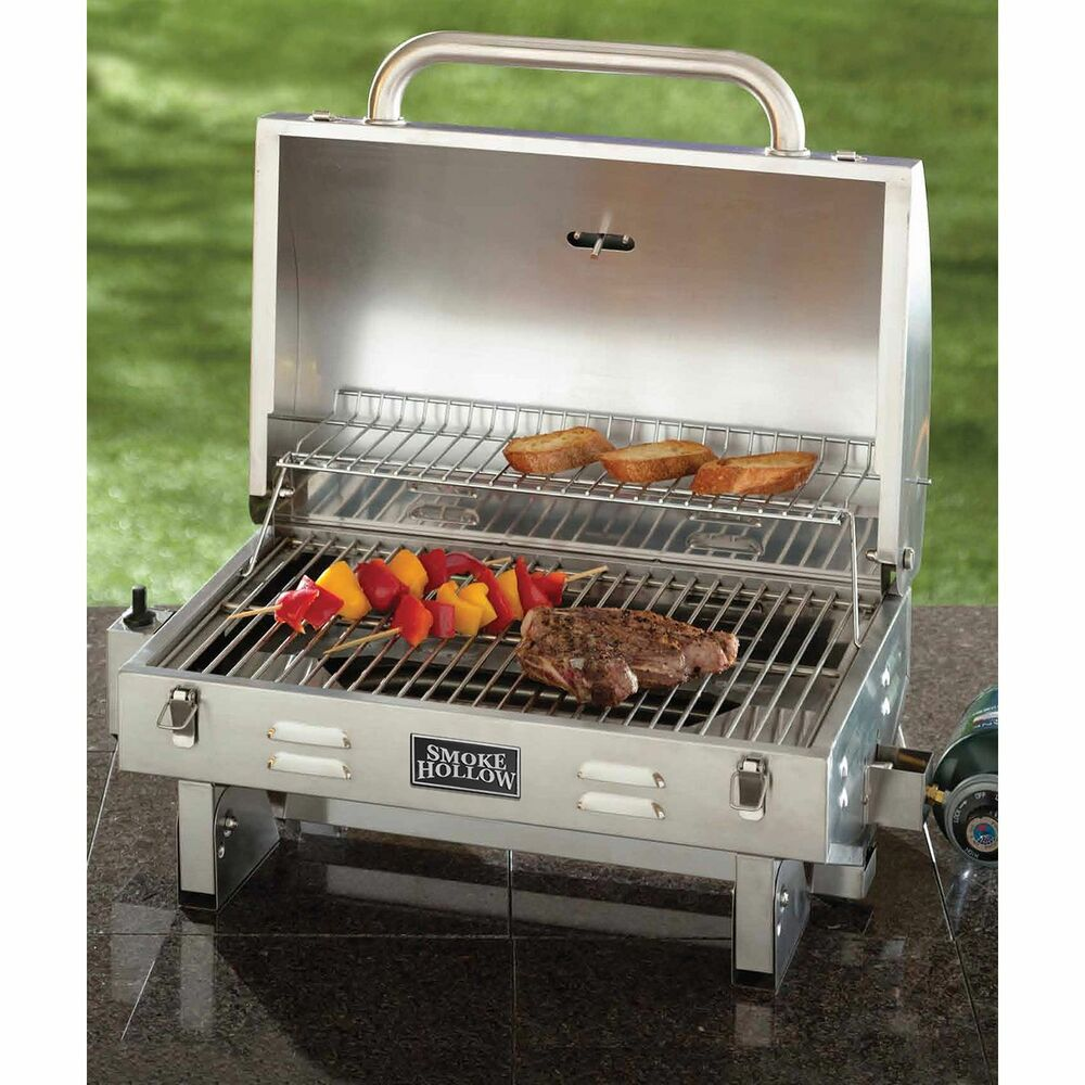 smoke hollow stainless steel outdoor tailgate portable bbq propane gas grill ebay. Black Bedroom Furniture Sets. Home Design Ideas