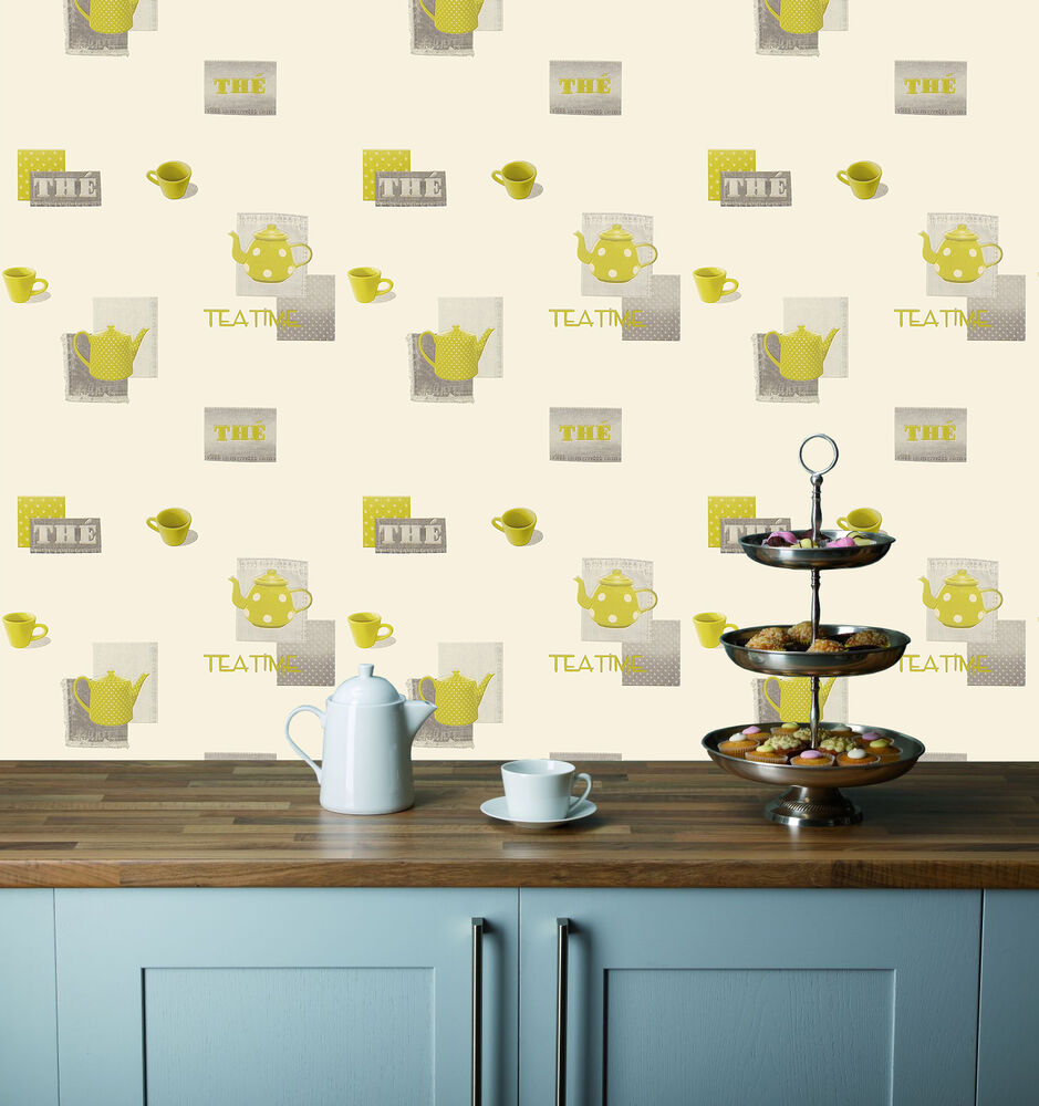 Grey green teapots cups on a cream background washable kitchen wallpaper ebay - Washable wallpaper ...