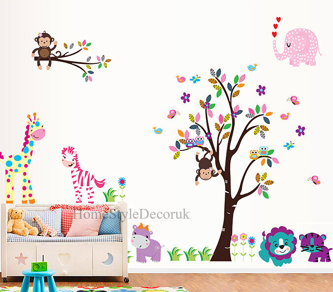 Jungle Zoo Animals Tree Wall Stickers Kids Nursery Decals