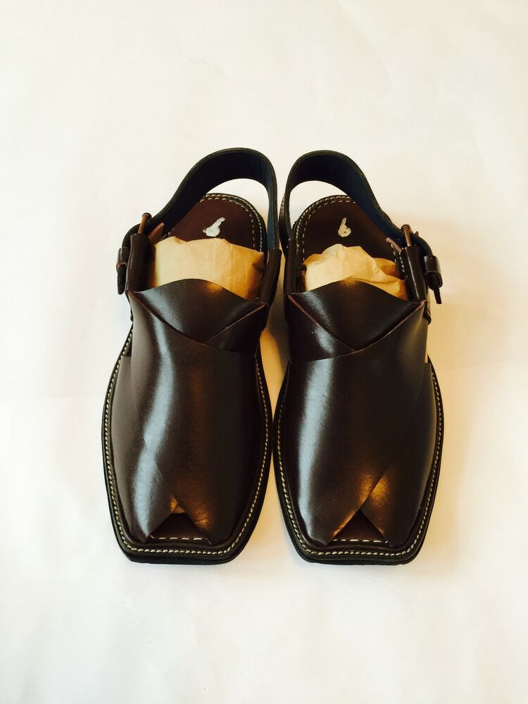 Authentic Mens Afghan Shoes Brown Leather Sandals Desert