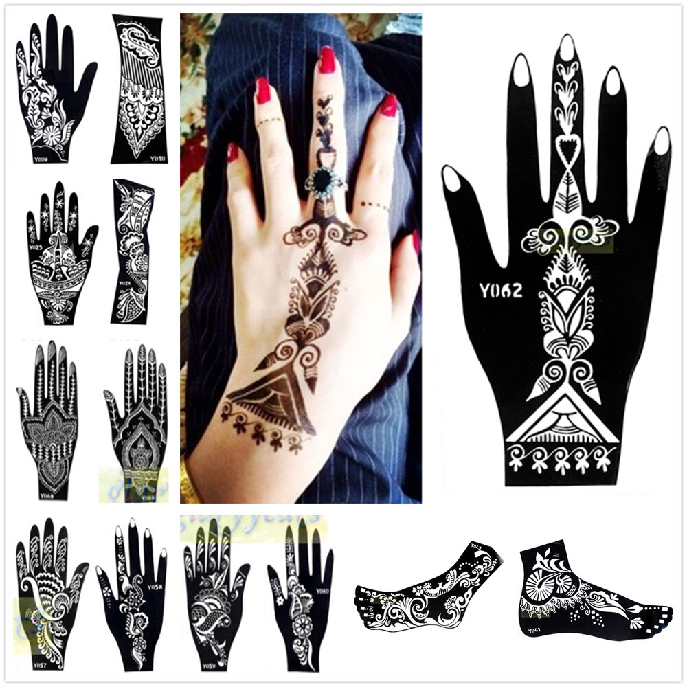 1pc india henna temporary tattoo stencils for hand leg arm feet body art decal ebay. Black Bedroom Furniture Sets. Home Design Ideas