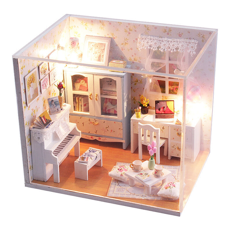 New kits diy wood dollhouse miniature with led furniture cover doll house room ebay Dollhouse wooden furniture