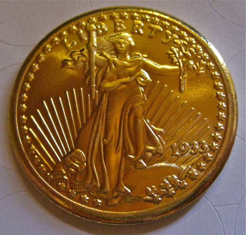 1933 Gold Plated Double Eagle Copy in Air-Tite