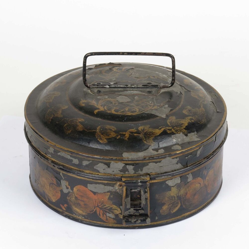 antique 19th c black tole painted round spice box original