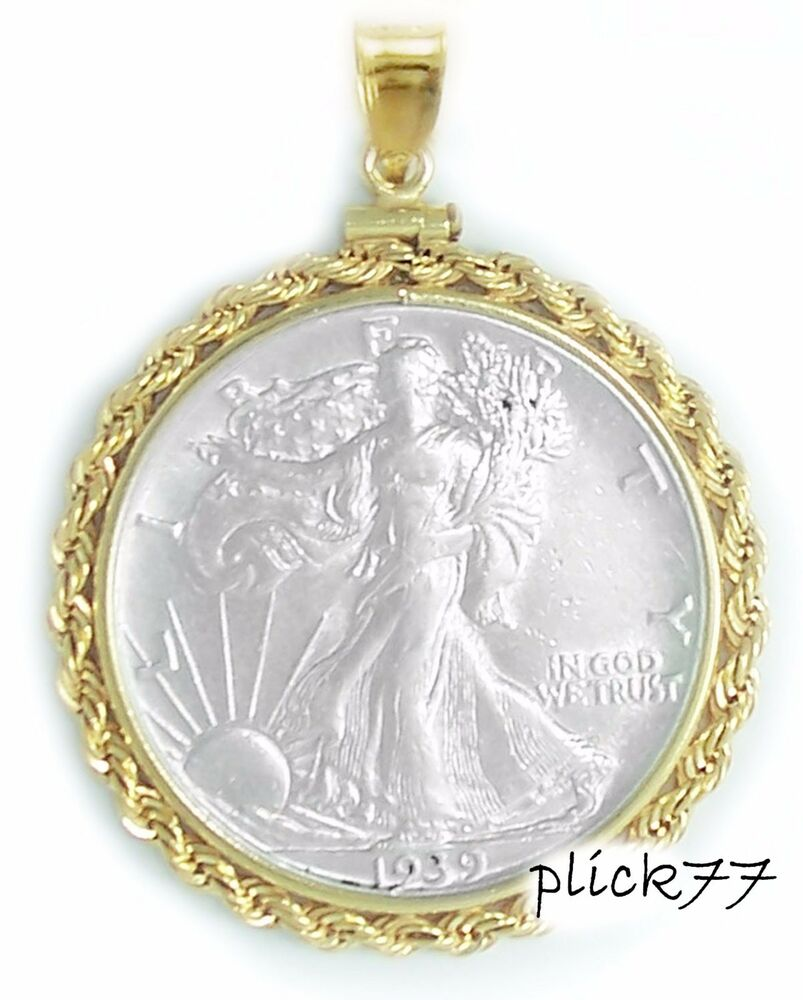 Gold Filled Walking Liberty Rope Coin Pendant