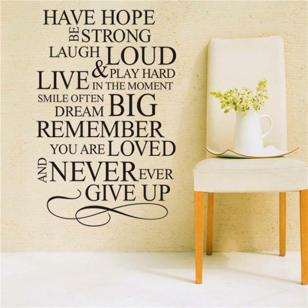 Removable Have Hope Never Give Up wall sticker decal decor