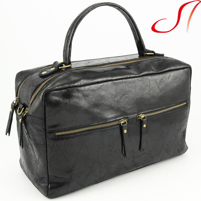 luxus reisetasche weekender ledertasche echt leder damen schwarz italien ebay. Black Bedroom Furniture Sets. Home Design Ideas