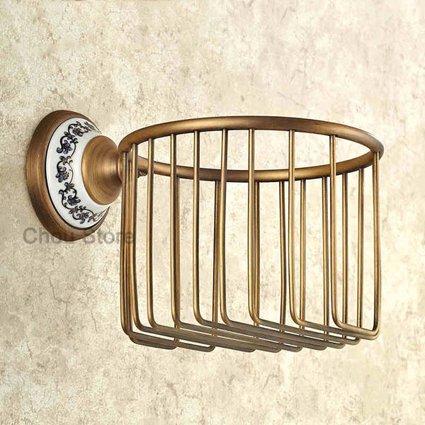Antique Brass Bathroom Toilet Paper Holder Wall Mount