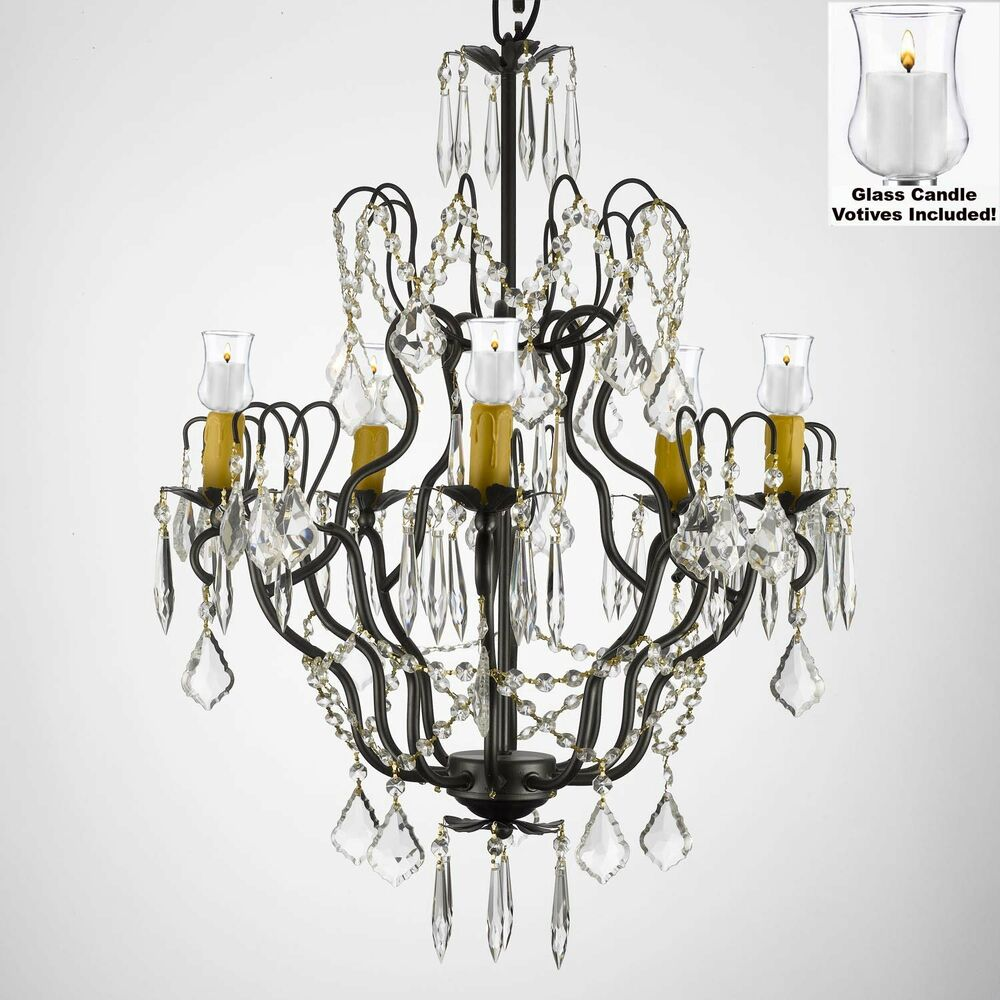 Crystal chandelier lighting w candle votives h27 x w21 Crystal candle chandelier