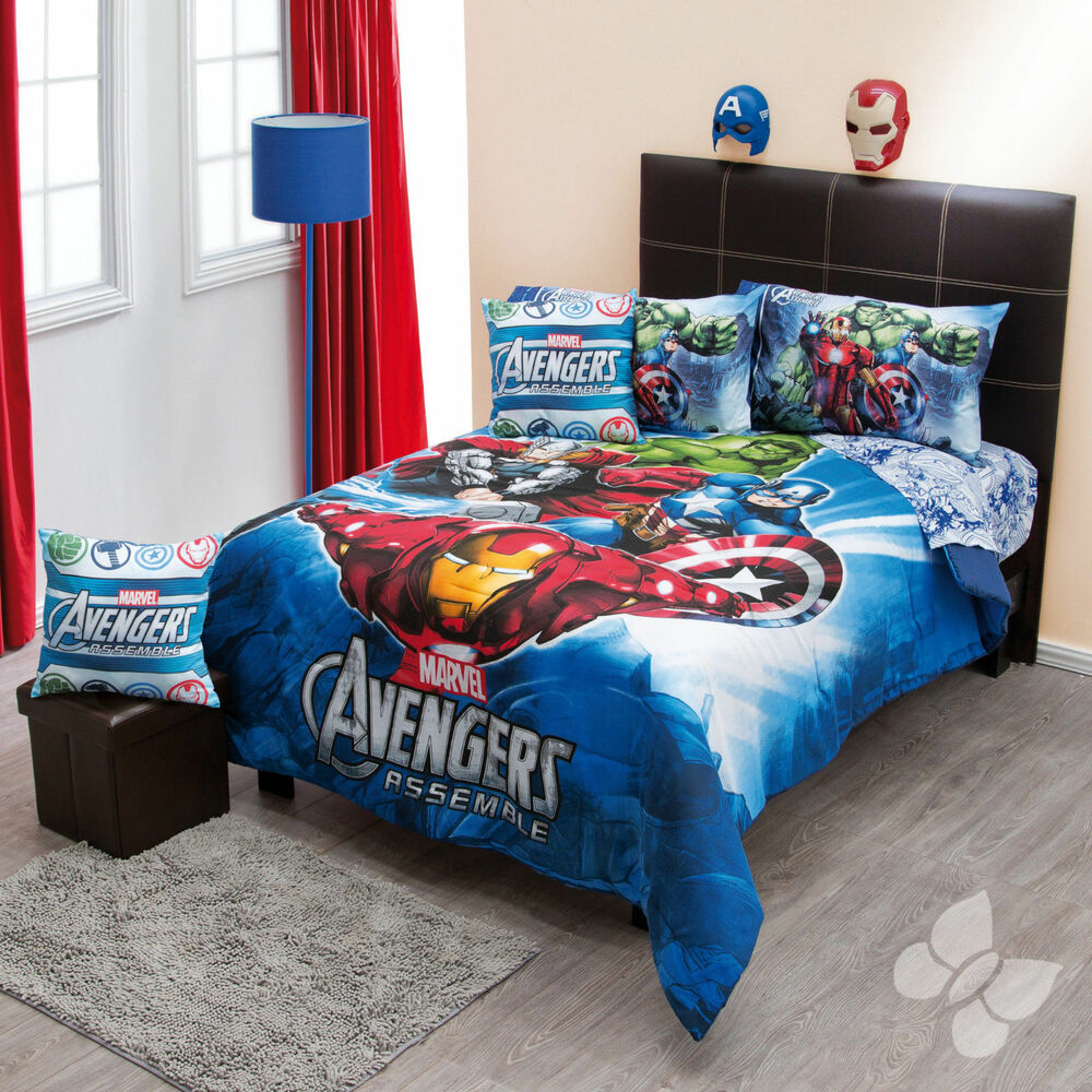 new boys marvel avengers captain america hulk twin comforter bedding sheet set ebay. Black Bedroom Furniture Sets. Home Design Ideas