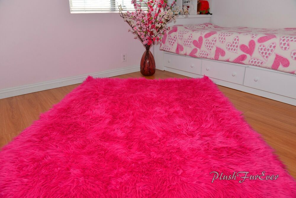 hot pink mongolian faux fur throws area rugs accents home 12848 | s l1000