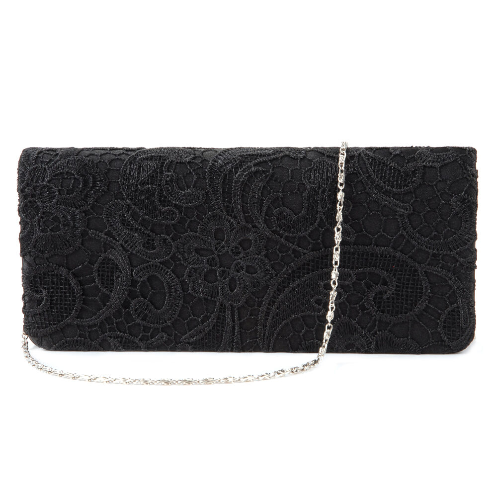 Ladies Satin Lace Floral Wedding Evening Clutch Bag Handbag Purse Black | EBay