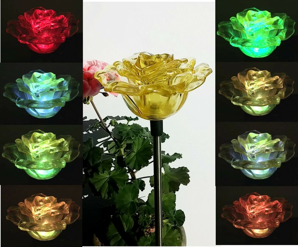 2x solar yellow rose flower garden decor stake lamp for Flower garden decorations